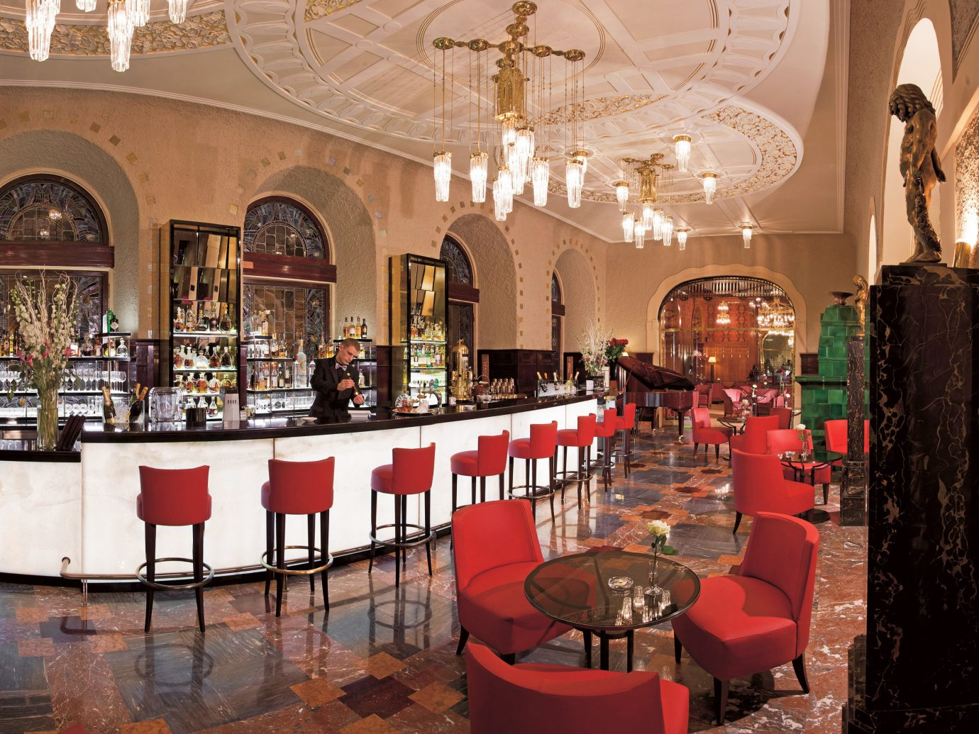 Bar Drink Eat Elegant Hotels Luxury Luxury Travel indoor wall floor red room restaurant interior design function hall meal several dining room