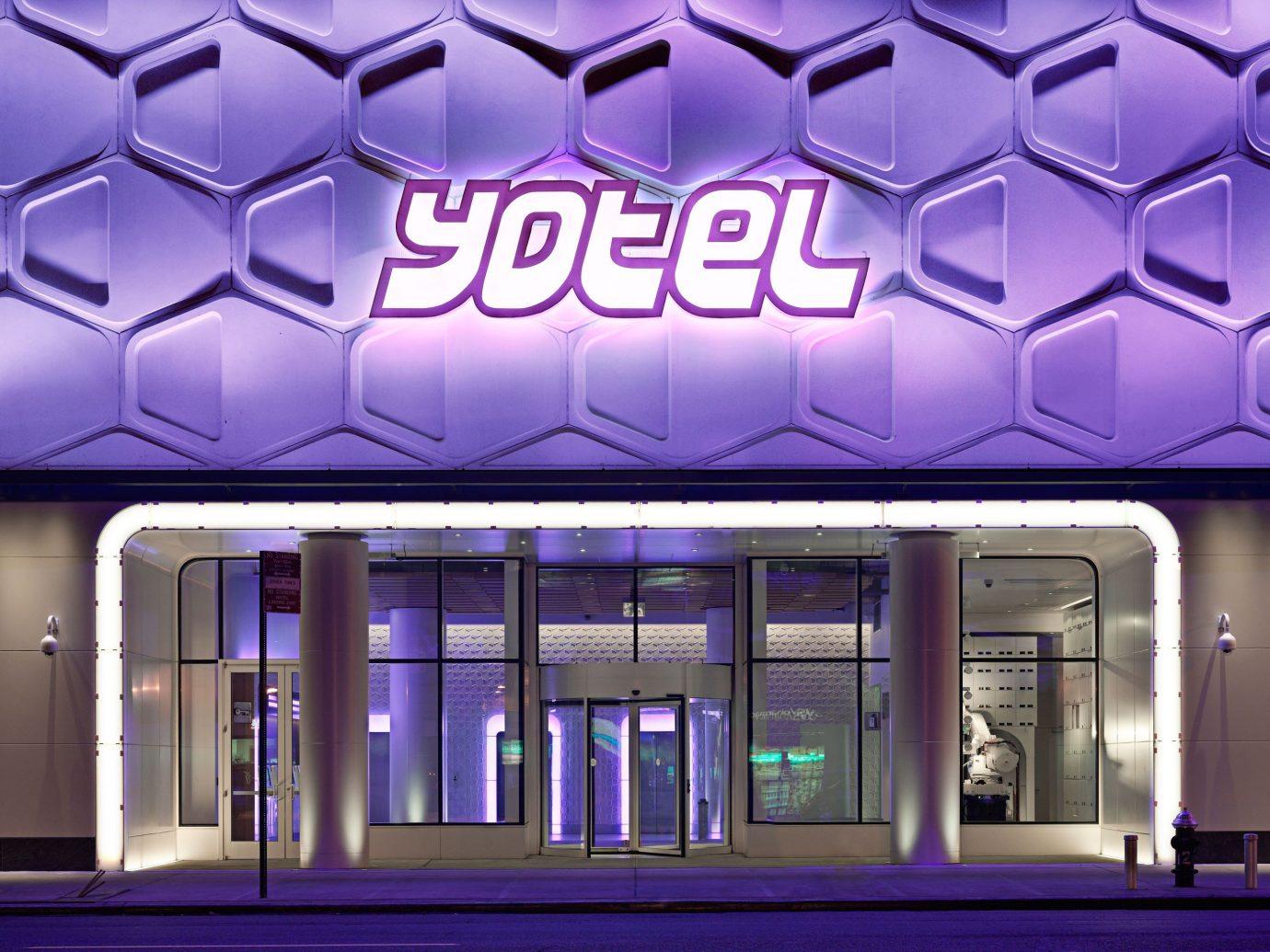 Hotels building facade interior design Design theatre outdoor object signage convention center retail headquarters purple