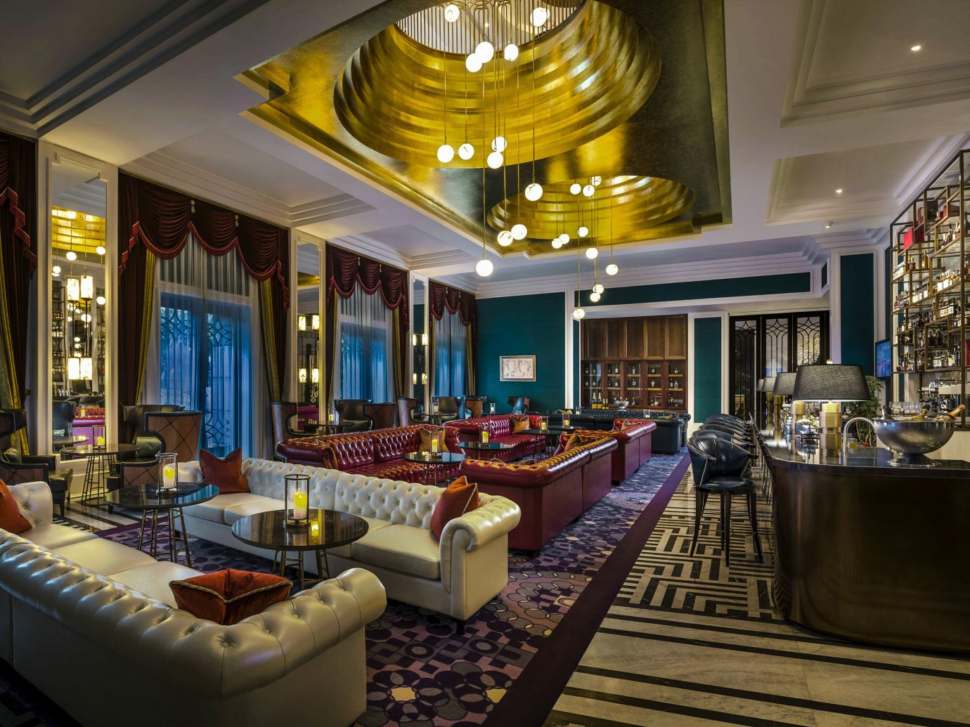 Boutique Hotels Luxury Travel indoor ceiling floor room window interior design Lobby living room estate furniture several