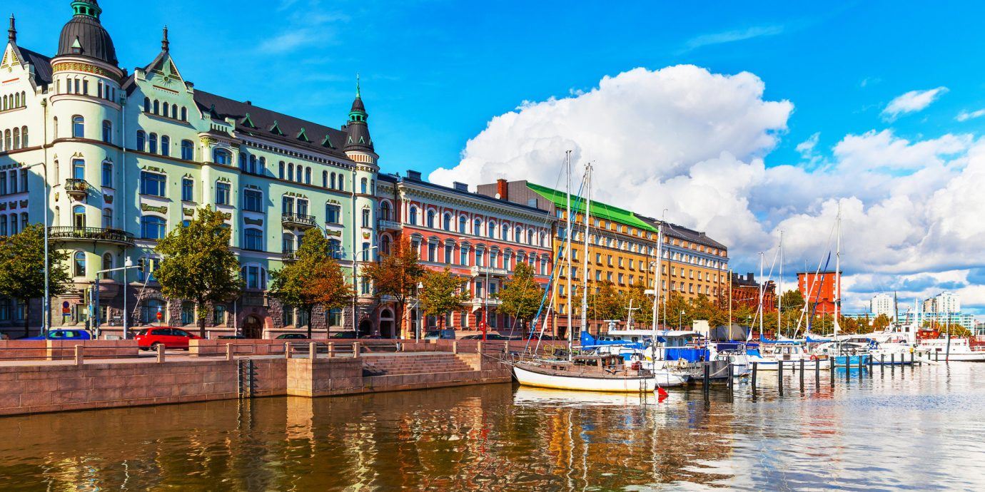 Finland Trip Ideas sky water outdoor scene Town landmark cityscape tourism waterway vacation reflection Harbor River Canal Resort palace dock marina