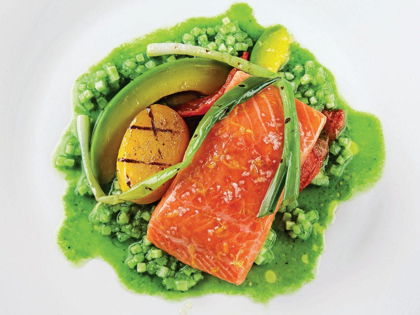 Jetsetter Guides food dish plate produce vegetable salad smoked salmon cuisine land plant fish meal vegetarian food salmon like fish salmon meat flowering plant fresh broccoli