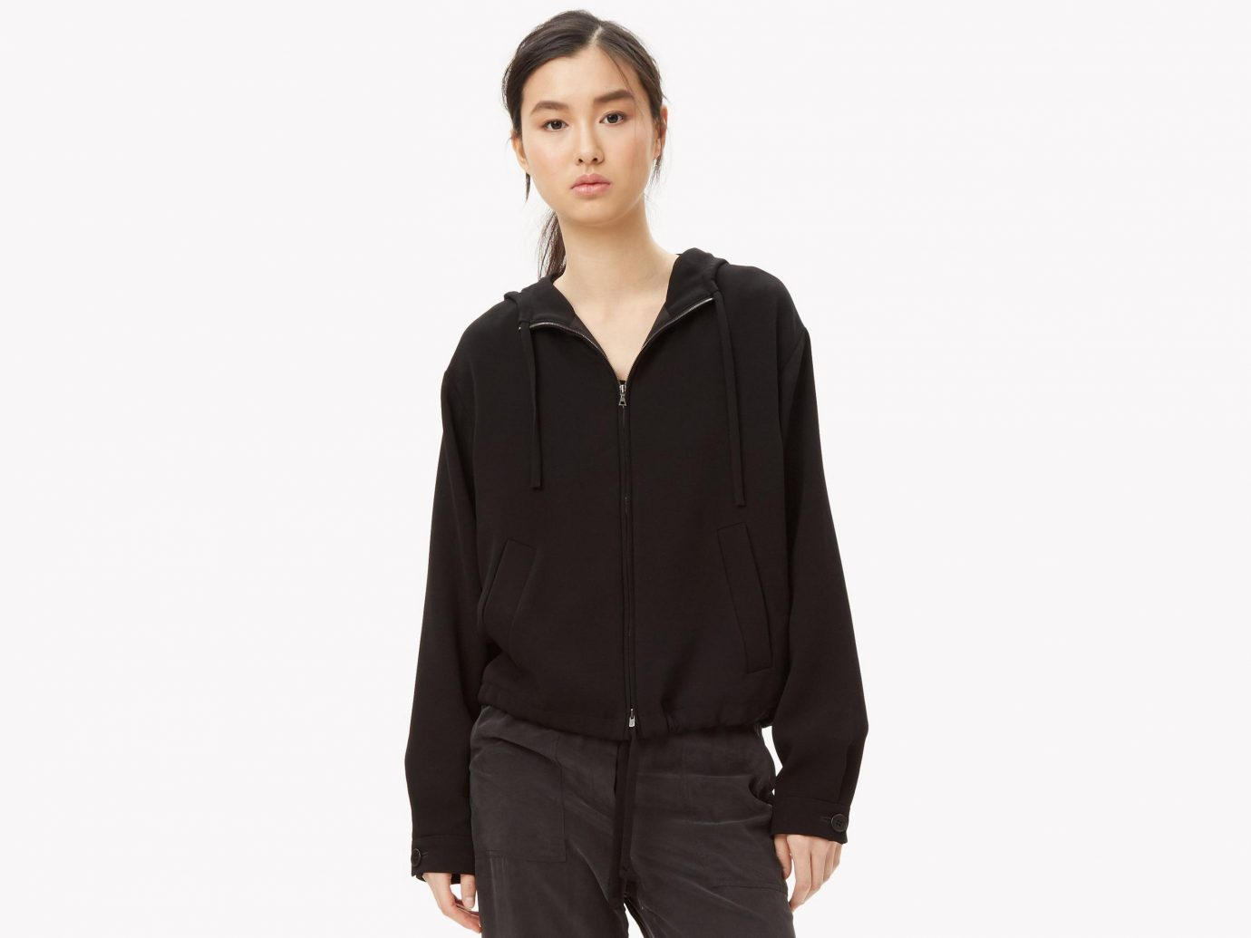 Style + Design clothing hood sleeve outerwear posing jacket hoodie collar pocket formal wear textile neck shirt work-clothing