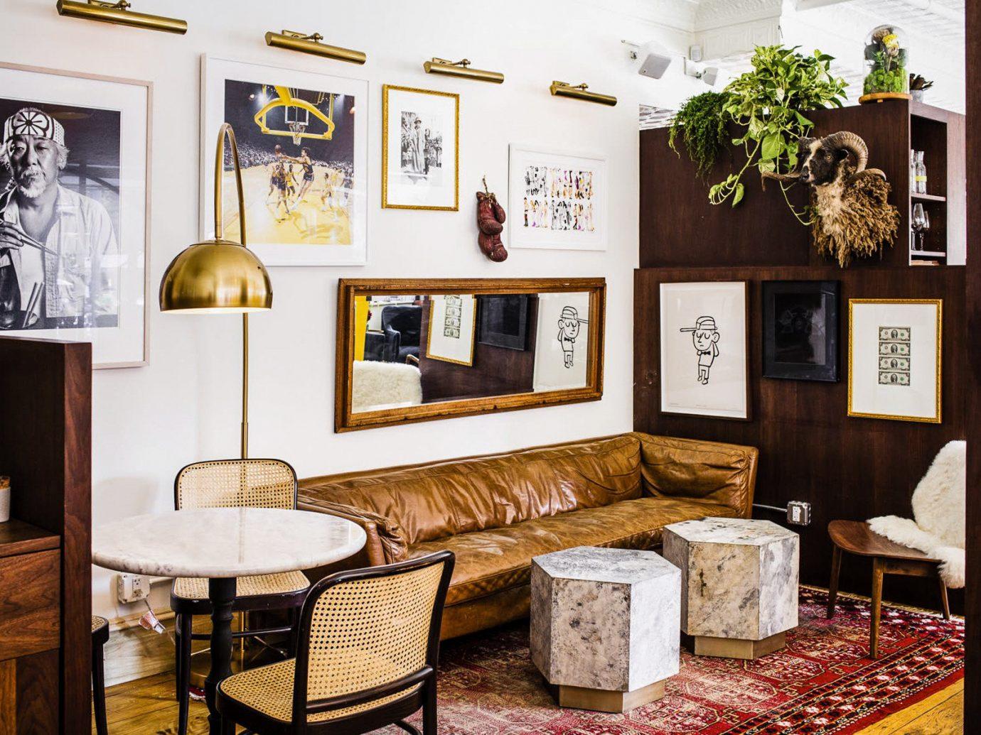 Food + Drink indoor floor Living room interior design furniture living room table area