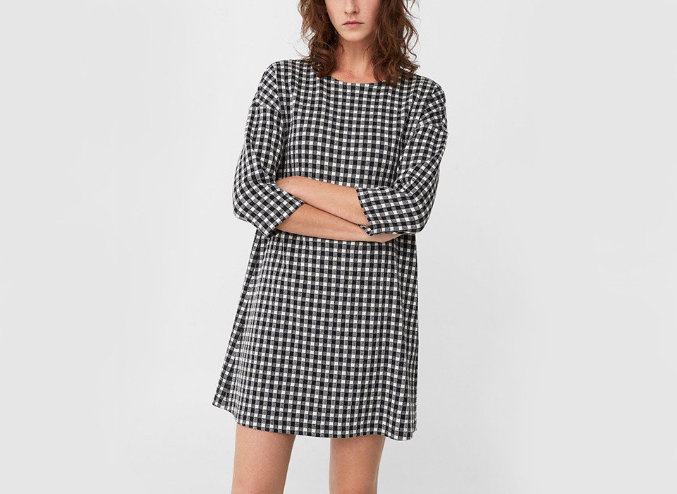 Style + Design clothing person day dress indoor sleeve dress fashion model young shoulder plaid girl tartan neck waist Design joint pattern posing