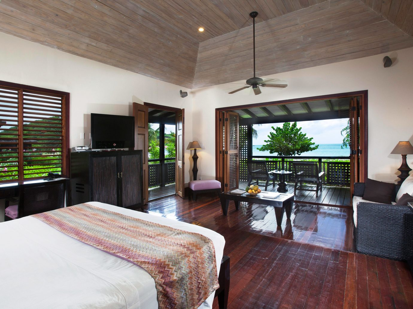 Adult-only All-inclusive Beachfront Bedroom Eco Hotels Living Luxury Romance Romantic indoor room wall ceiling floor window property bed estate house furniture real estate home Resort Villa cottage living room interior design farmhouse decorated area wood