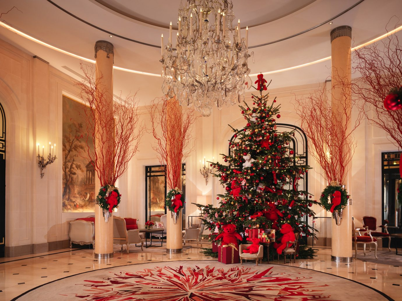 Hotels indoor Christmas christmas decoration Christmas tree floristry interior design Lobby plant ballroom function hall holiday decorated furniture
