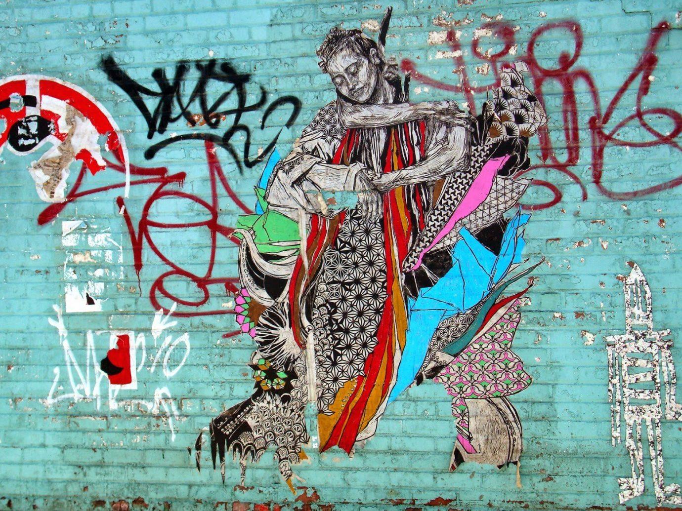 art Arts + Culture brick wall City city streets colorful graffiti street art streets urban map mural illustration modern art