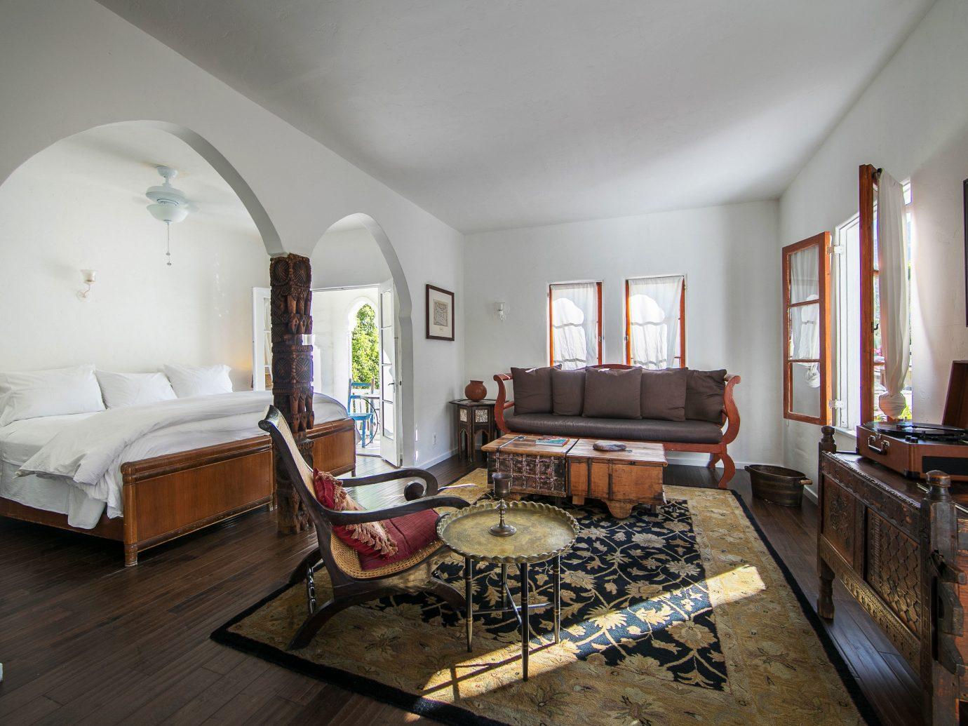 Romantic bedroom of Korakia Pensione, Palm Springs