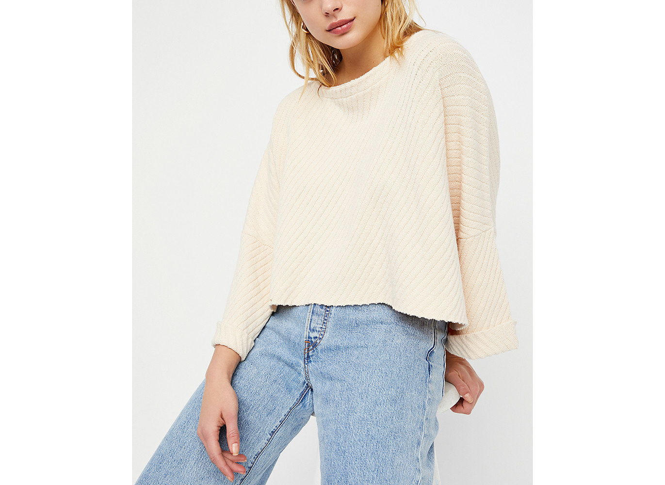 Style + Design Travel Shop person clothing sleeve indoor shoulder neck posing woolen joint sweater poncho beige blouse peach