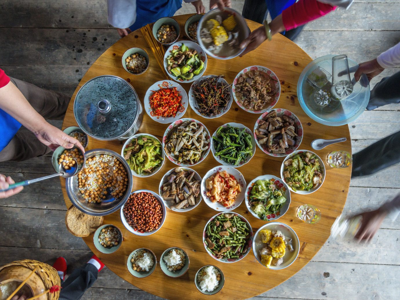 Offbeat person food public space dish preparing market meal meat