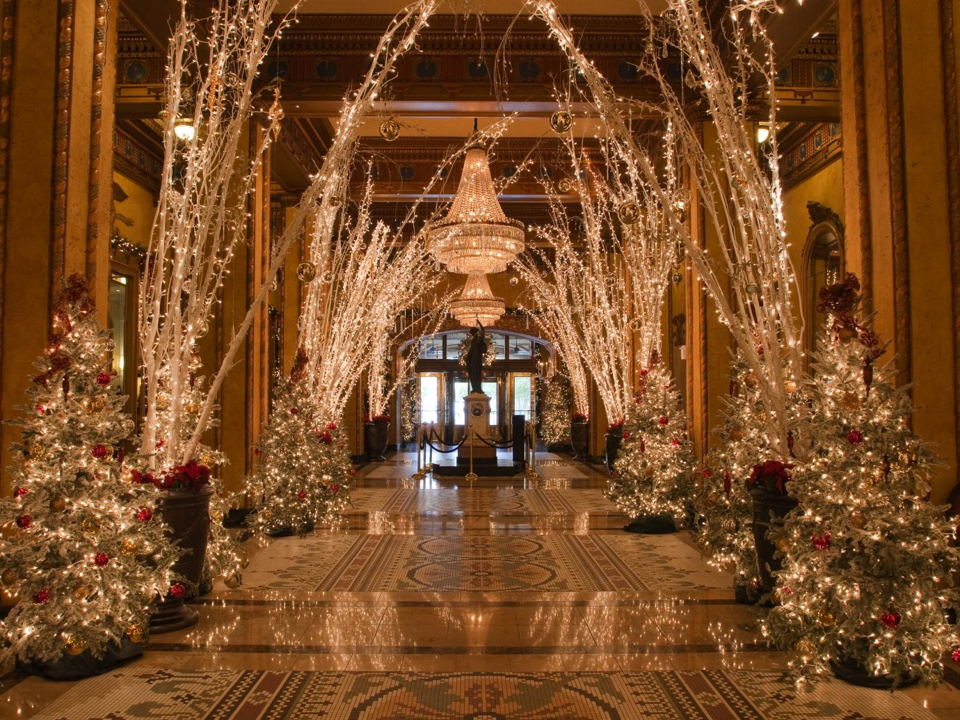 Hotels indoor christmas decoration Christmas Christmas tree aisle lighting christmas lights altar meal ballroom decorated