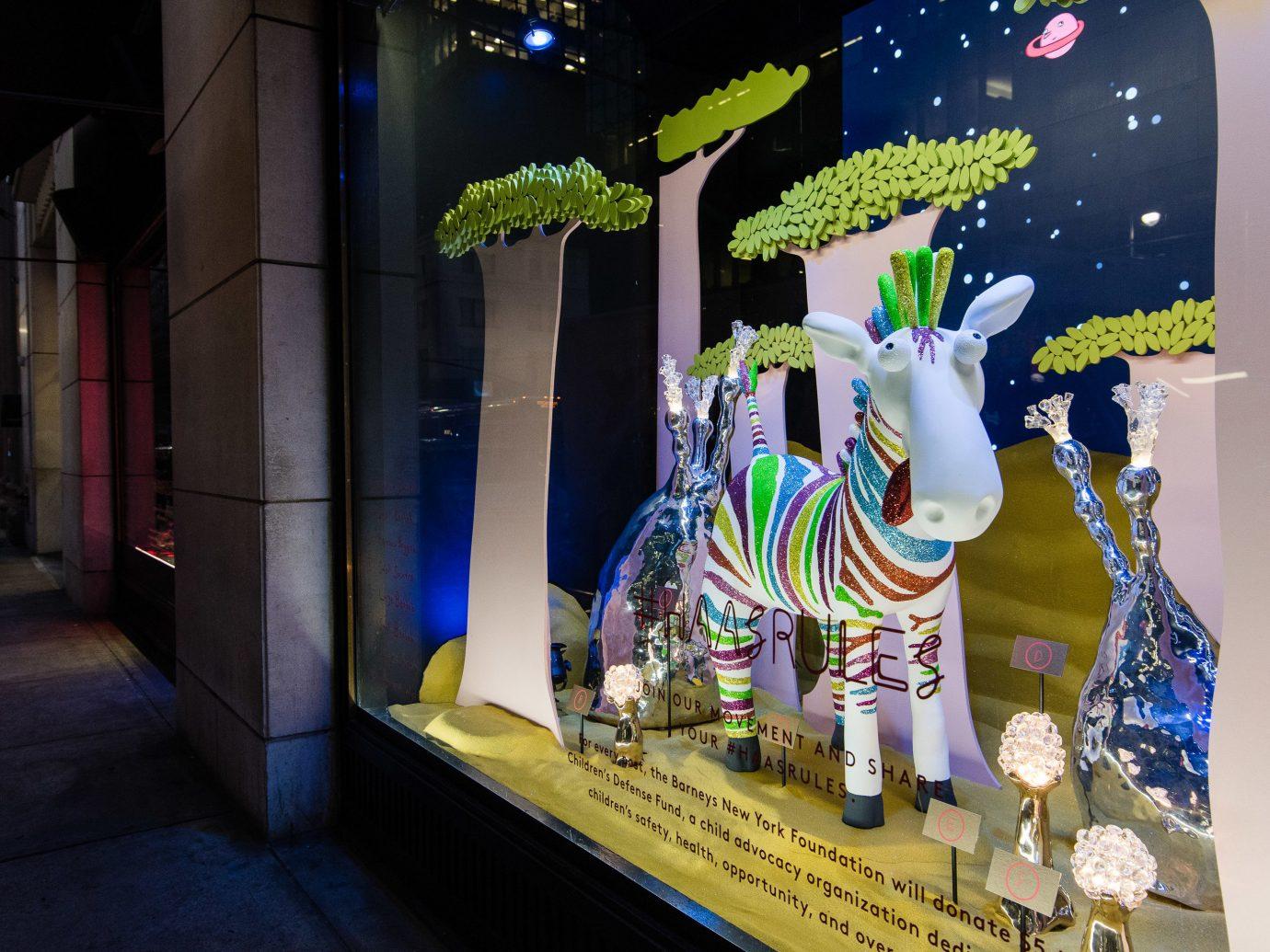 Offbeat Winter display window art tourist attraction