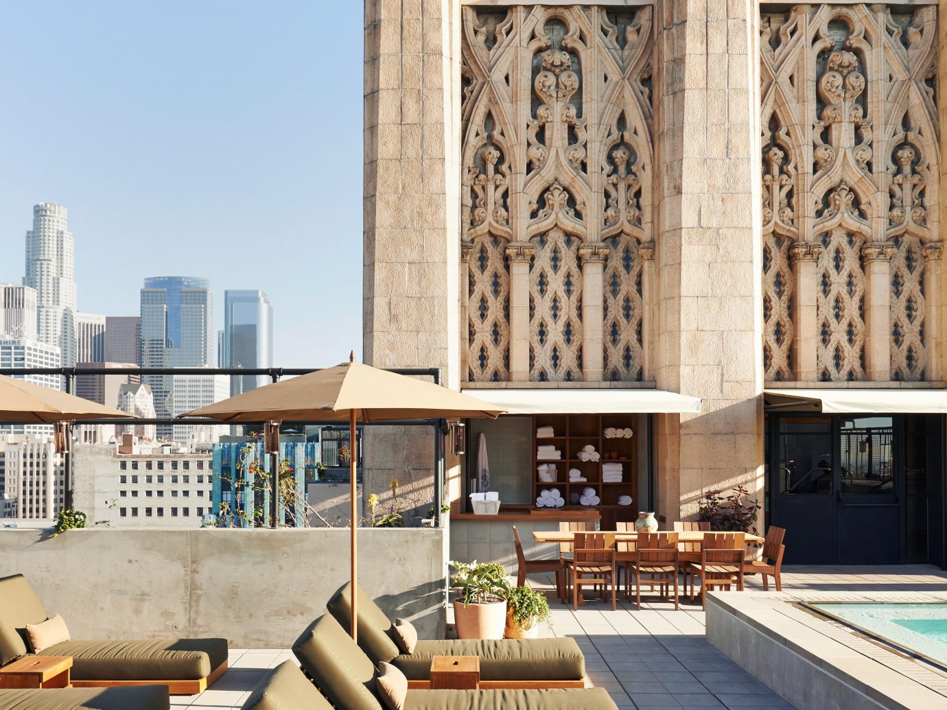City Elegant Hip Hotels Lounge Modern Outdoors Patio Pool Rooftop landmark Architecture cathedral facade interior design place of worship estate
