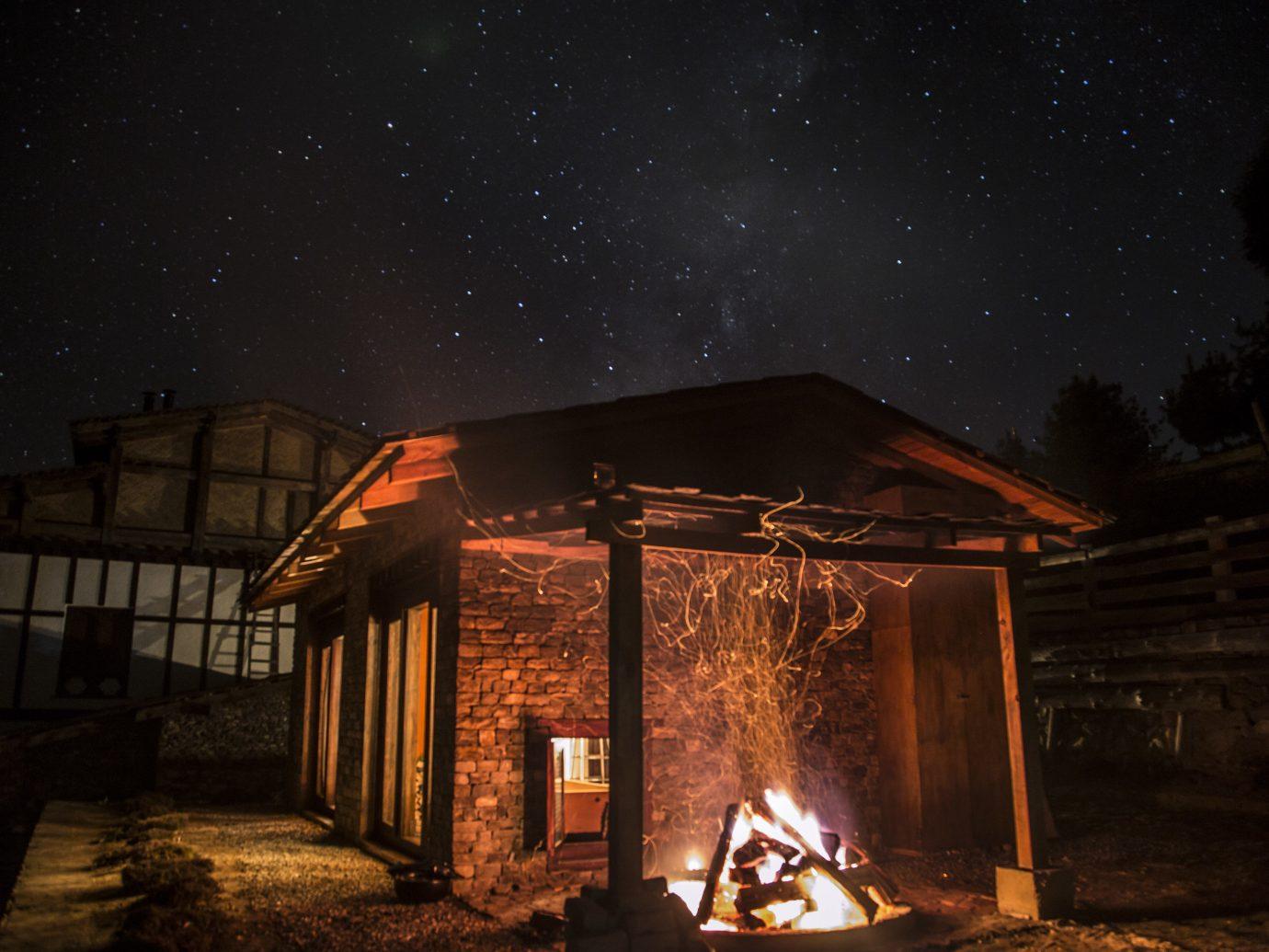Hotels Offbeat outdoor night sky darkness building atmosphere phenomenon heat lighting fire midnight evening flame dark Fireplace