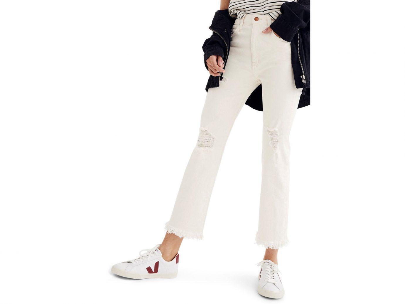 Style + Design white clothing joint waist leg jeans shoe trousers trunk leggings fashion model abdomen trouser knee dressed