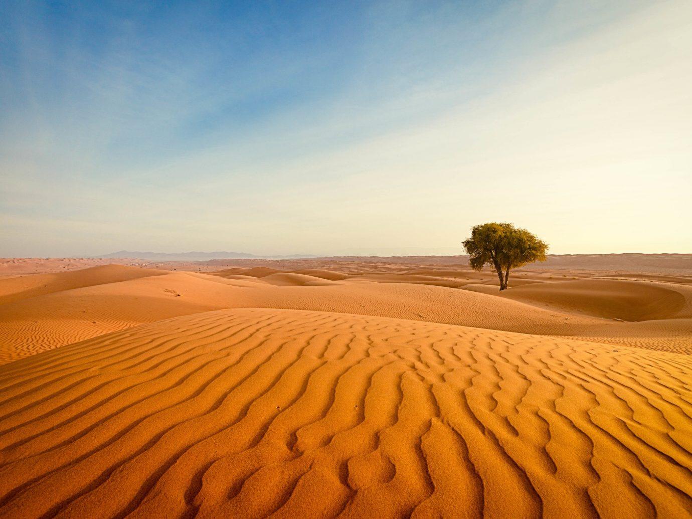 Adventure Off-the-beaten Path Trip Ideas Desert erg aeolian landform sky sahara singing sand sand landscape dune morning ecoregion horizon sunlight wadi plain