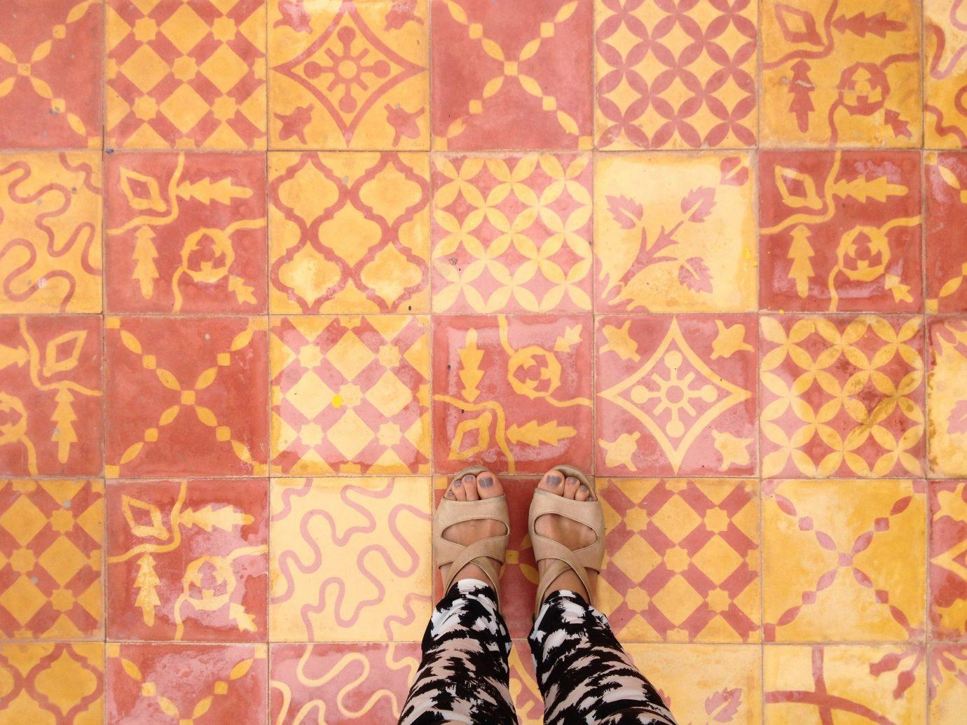 Trip Ideas wall pattern art Design yellow flooring modern art wallpaper illustration textile bedclothes orange fabric