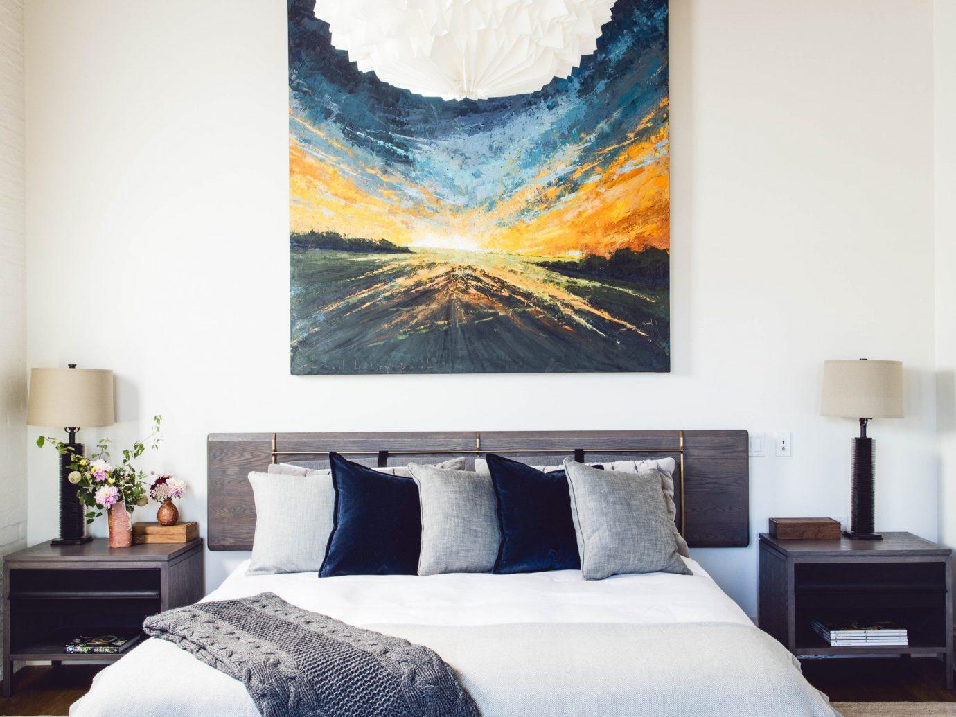 Food + Drink Hotels indoor wall bed room Bedroom pillow interior design living room floor furniture home bed sheet bed frame Design ceiling
