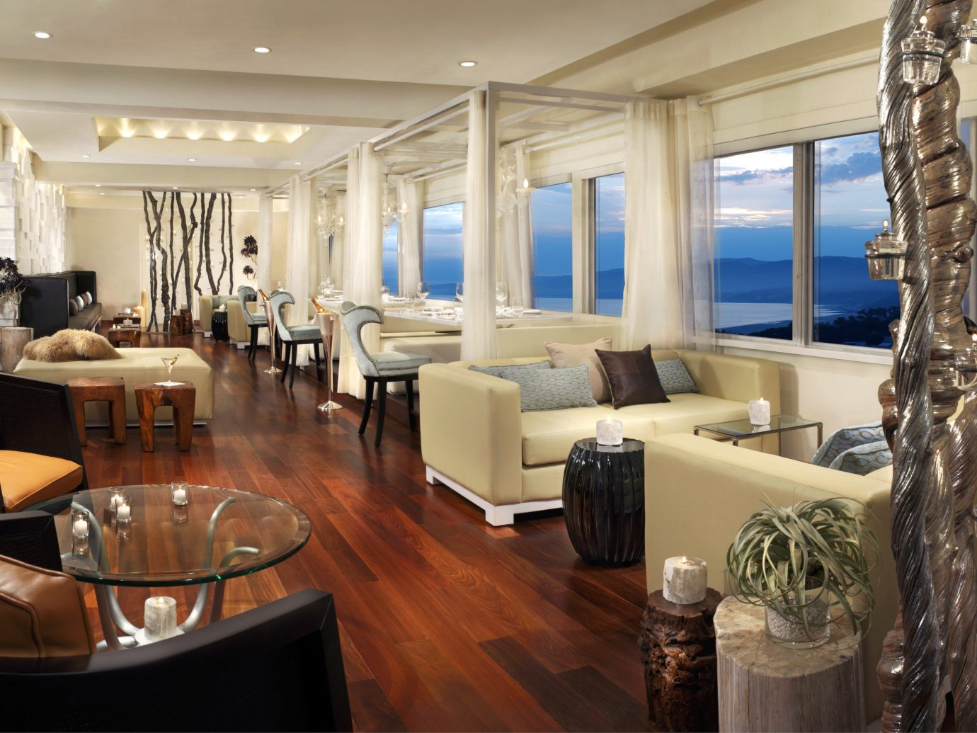 Food + Drink indoor window floor ceiling room property dining room yacht estate living room interior design home Lobby condominium restaurant Suite real estate Boat Design Dining passenger ship Resort furniture dining table