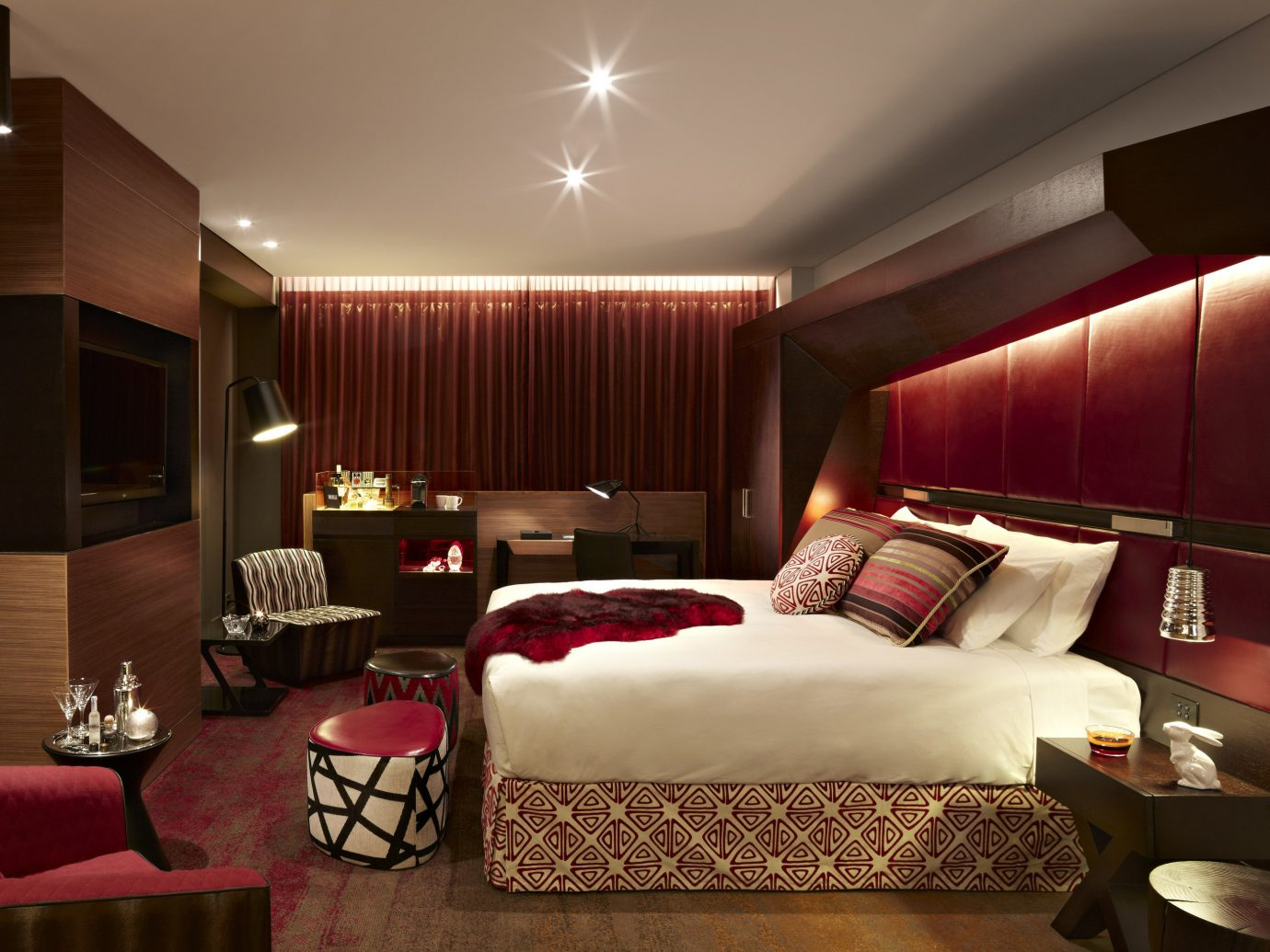 Hotels Romance wall indoor ceiling bed room red floor hotel Suite living room Bedroom interior design estate decorated furniture