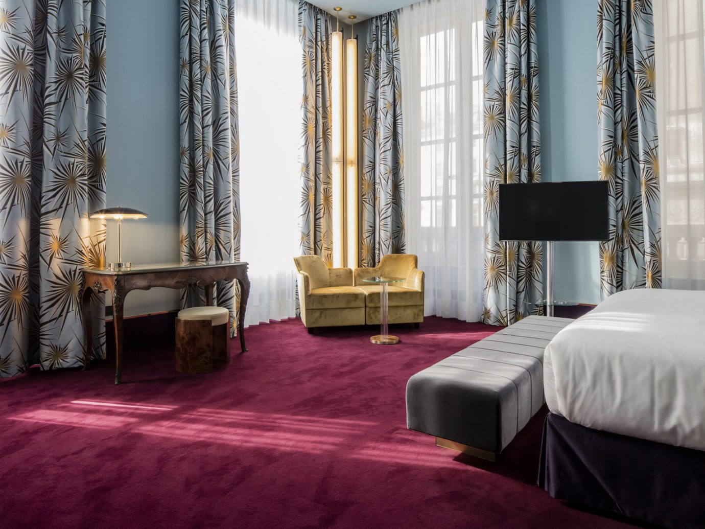 artistic artsy Boutique Hotels Hotels Style + Design stylish bed indoor room floor property Bedroom hotel interior design living room curtain flooring home Suite estate textile Design window covering window treatment
