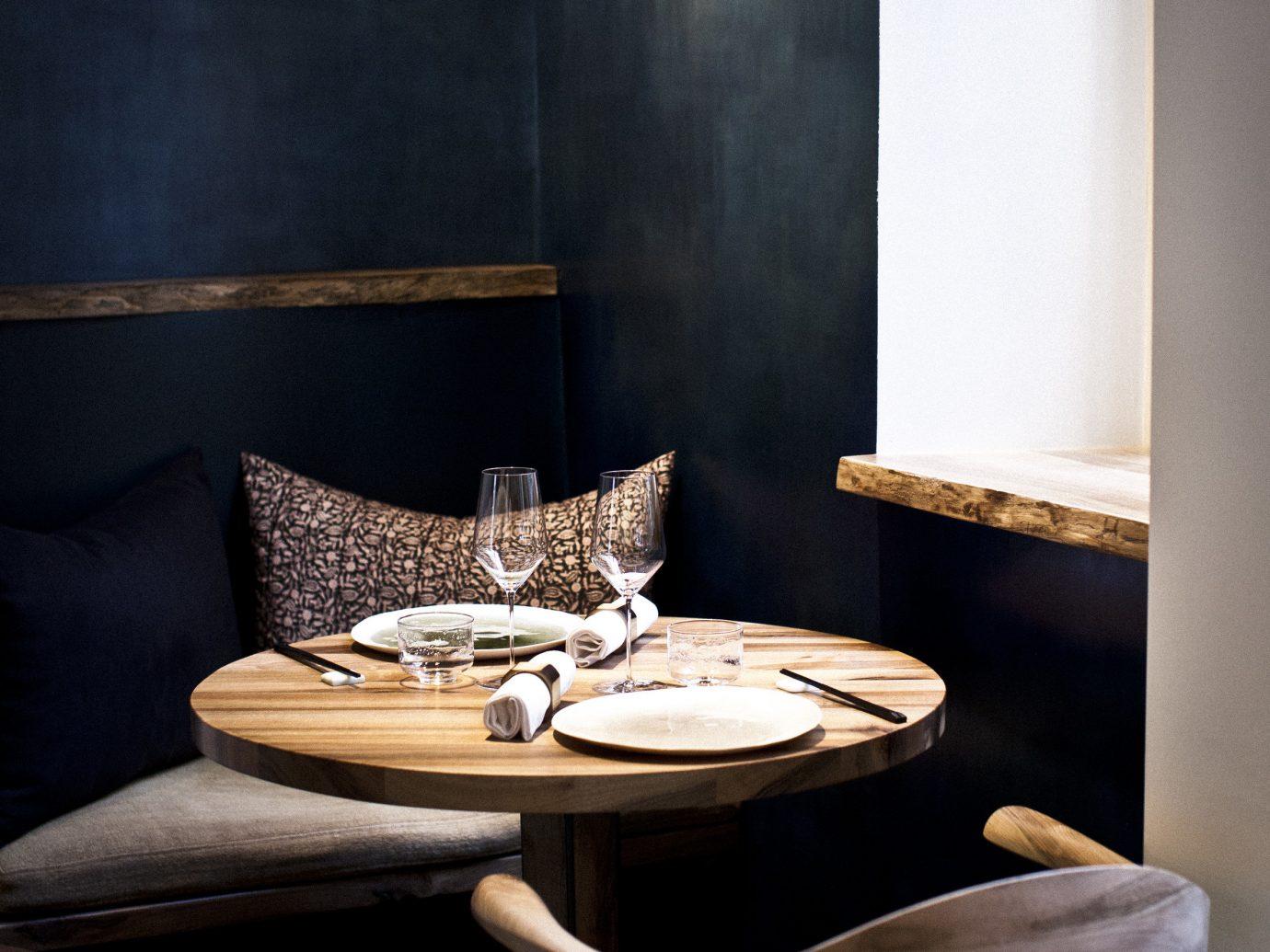 Food + Drink wall room indoor living room table furniture floor interior design lighting wood home dining room Design window covering set dining table