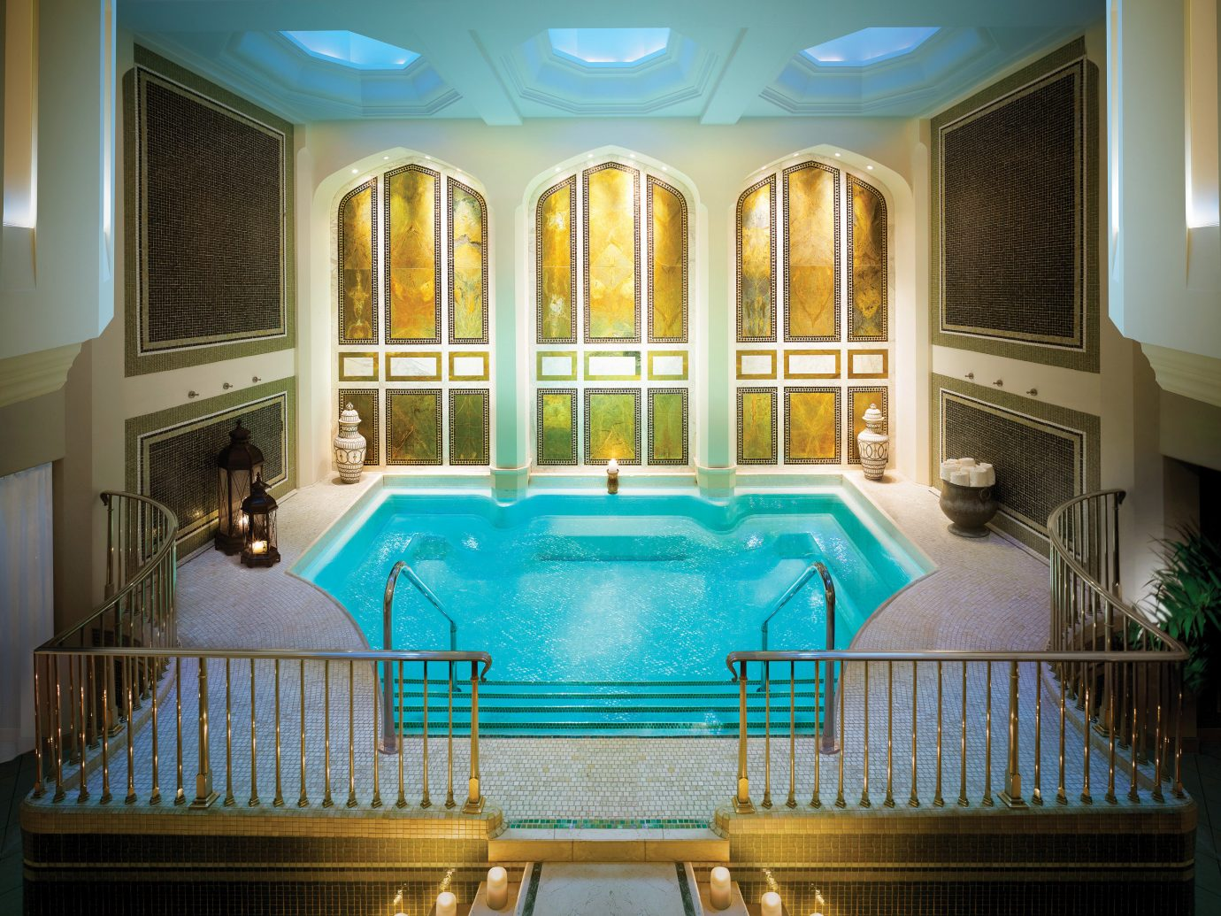 Health + Wellness Hotels Spa Retreats swimming pool blue property estate room mansion ceiling Resort home green interior design palace Lobby