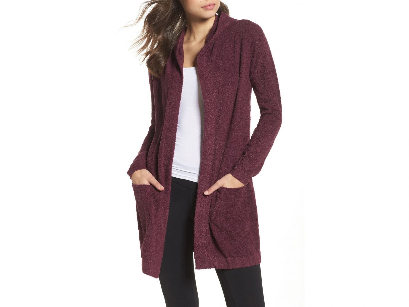 Travel Shop clothing suit wearing posing person standing cardigan outerwear sleeve sweater neck magenta woolen dressed trouser clothes