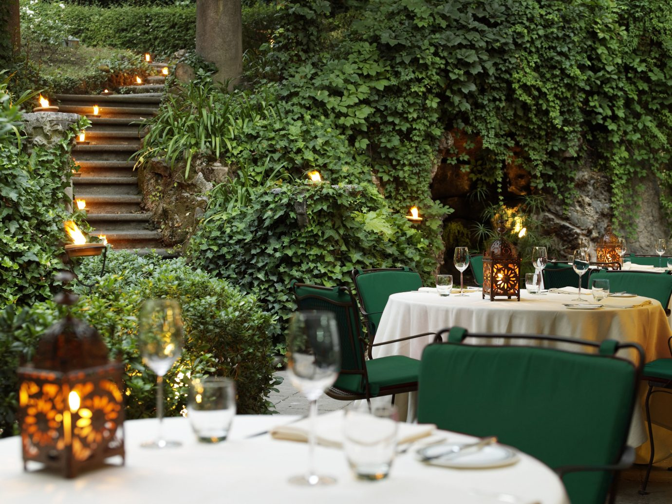 Boutique Hotels Food + Drink Hotels Italy Luxury Travel Romantic Hotels Rome tree flower backyard floristry meal restaurant estate Garden set dining table