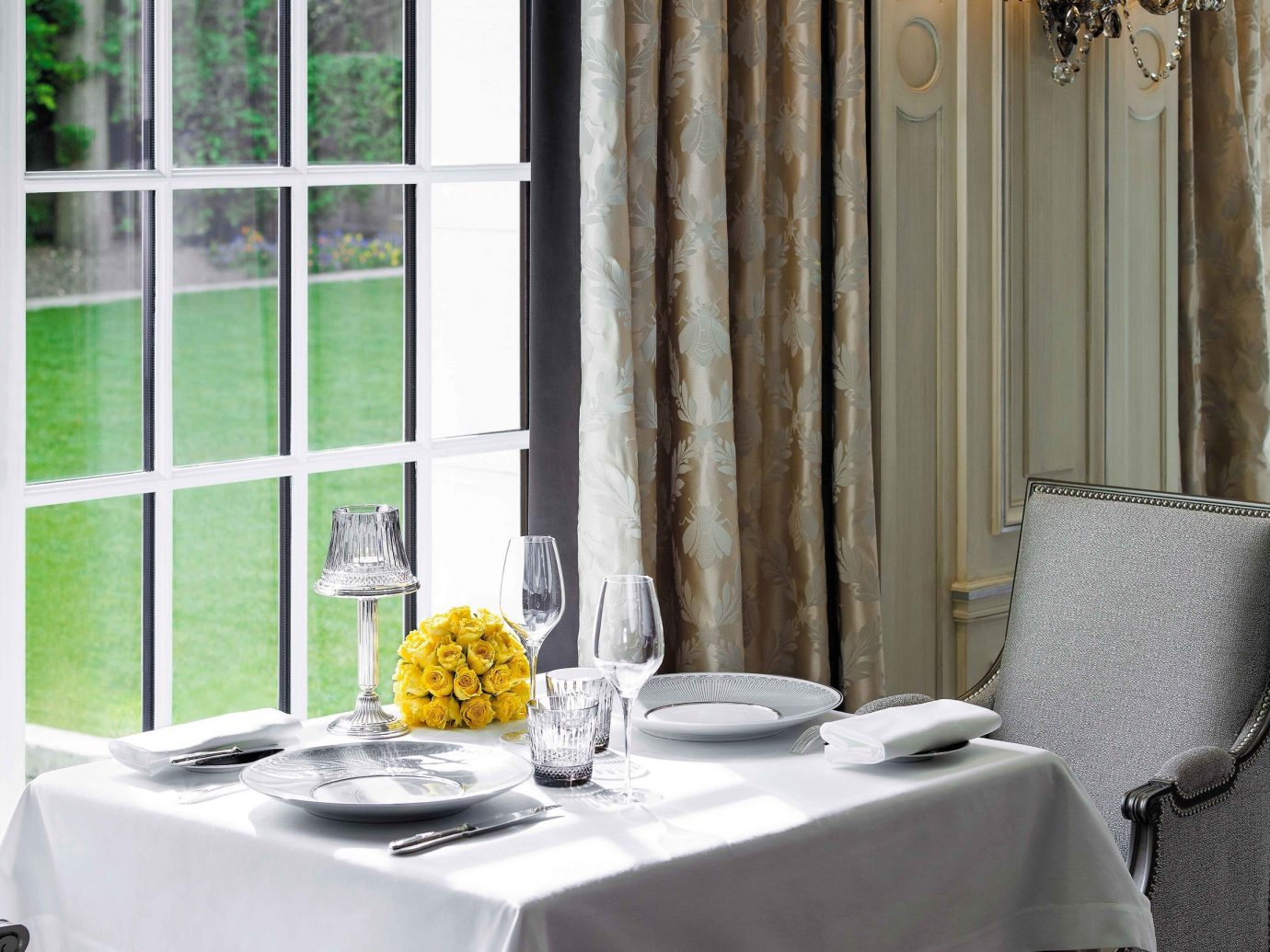 Food + Drink Romance indoor table furniture room interior design window tablecloth dining room home curtain textile window treatment window covering chair restaurant living room linens home accessories shade