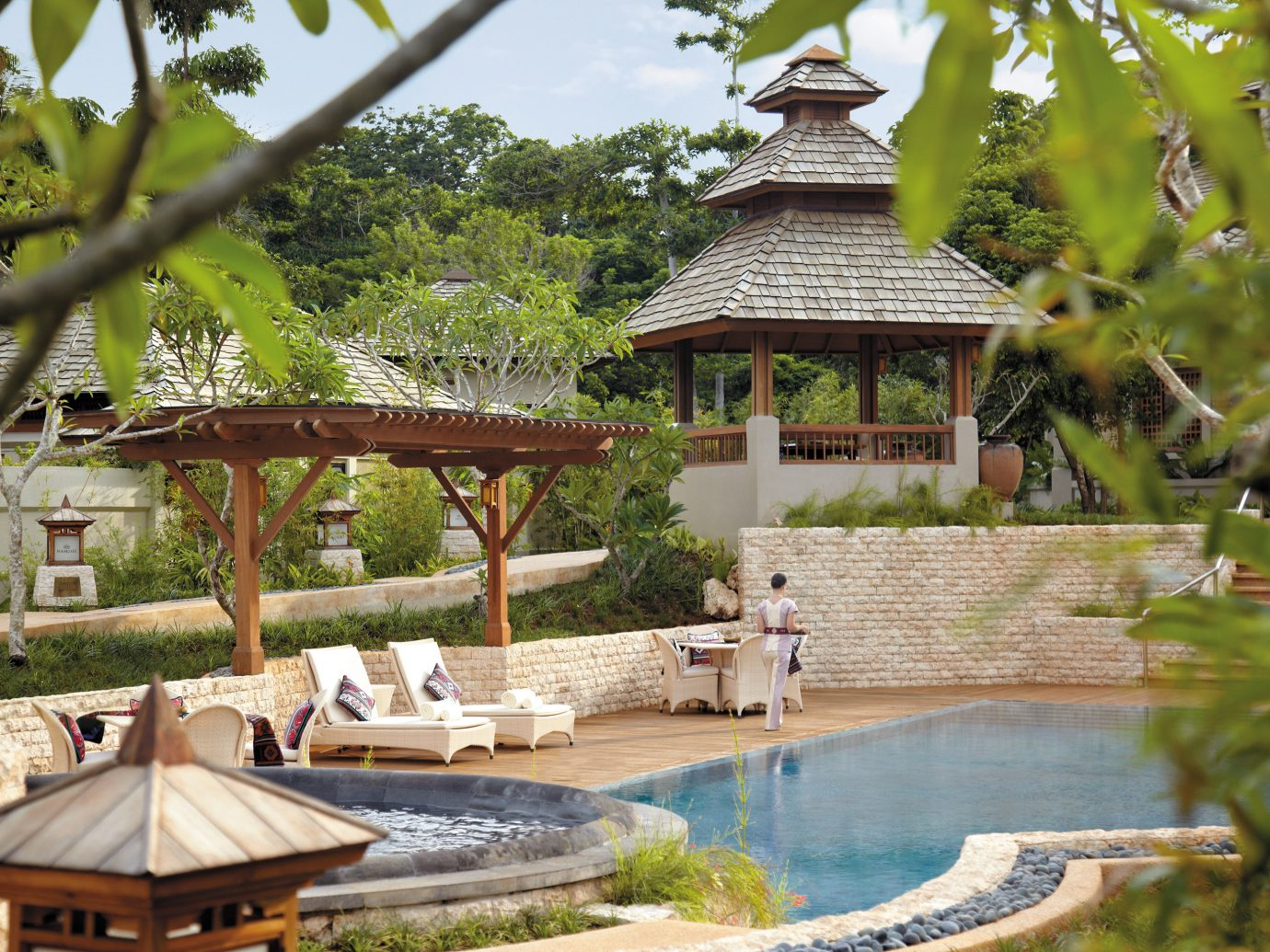 Architecture Buildings Design Family Hotels Play Pool Resort tree outdoor building swimming pool estate backyard Garden outdoor structure gazebo Villa Jungle