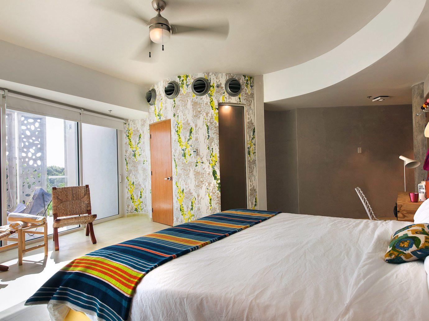 Boutique Design Hip Modern Trip Ideas indoor wall bed ceiling room Bedroom property scene estate Suite interior design hotel real estate cottage bed sheet furniture decorated