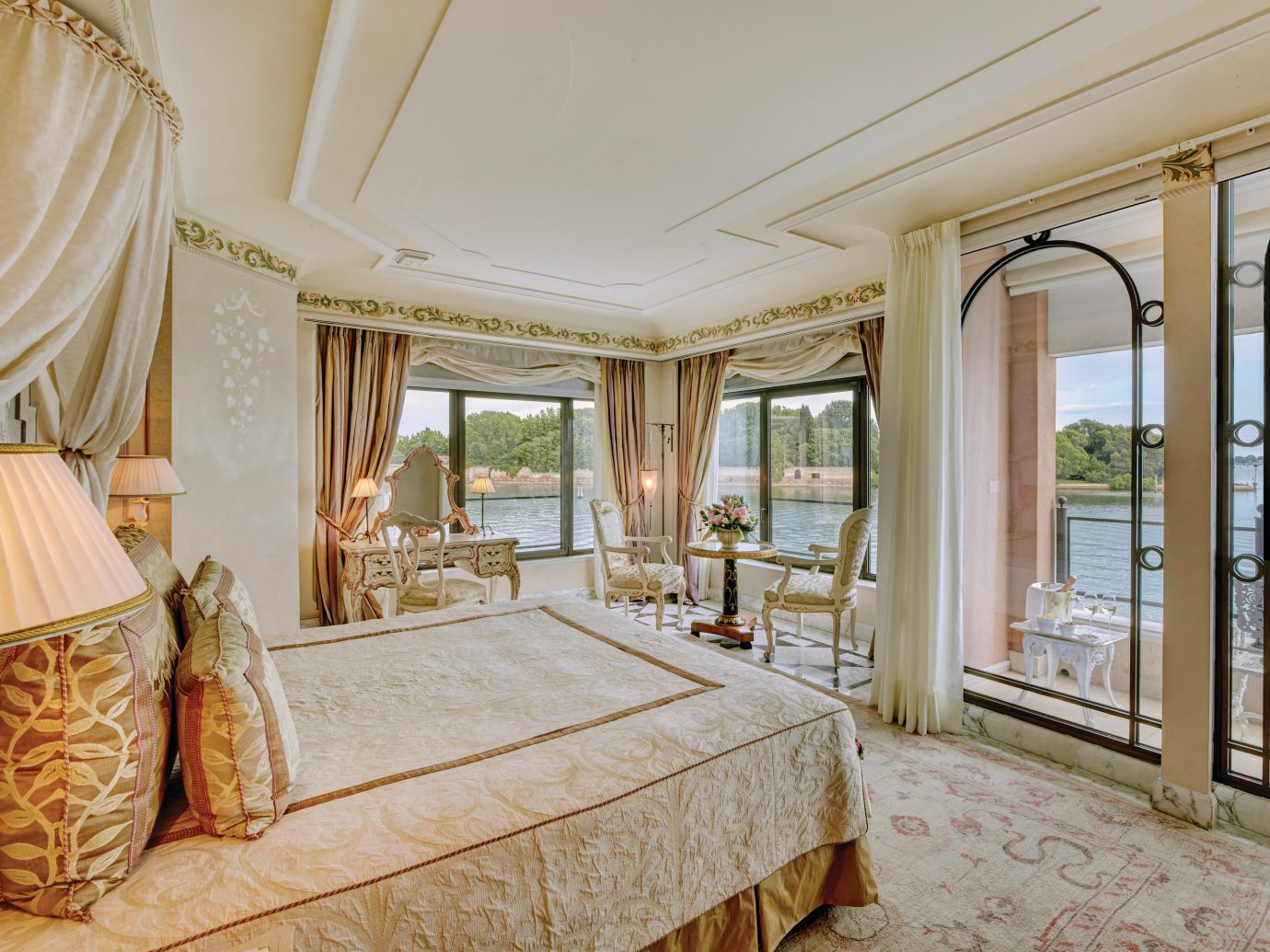 Celebs Hotels Italy Luxury Travel Trip Ideas Venice indoor bed room property Bedroom estate interior design real estate ceiling window Suite home living room floor window treatment penthouse apartment flooring furniture decorated