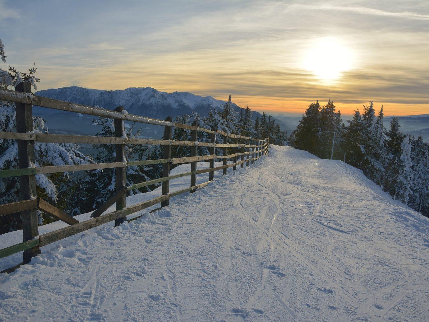 Trip Ideas snow outdoor sky Winter mountainous landforms weather mountain season morning freezing mountain range Fence day