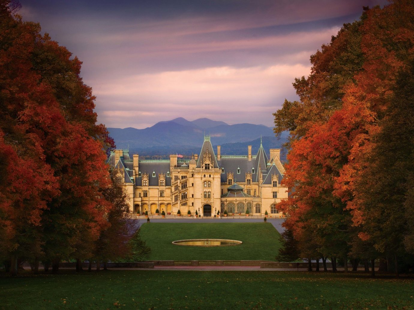 Architecture autumn building Elegant Exterior extravagant Fall fall colors Fall leaves fancy foliage golden hour Greenery Historic isolation Luxury Mountains Nature Outdoors regal remote Scenic views sophisticated Sunset trees Trip Ideas view tree outdoor grass sky season plant leaf morning evening woody plant reflection flower château castle dusk sunlight cityscape Forest lush