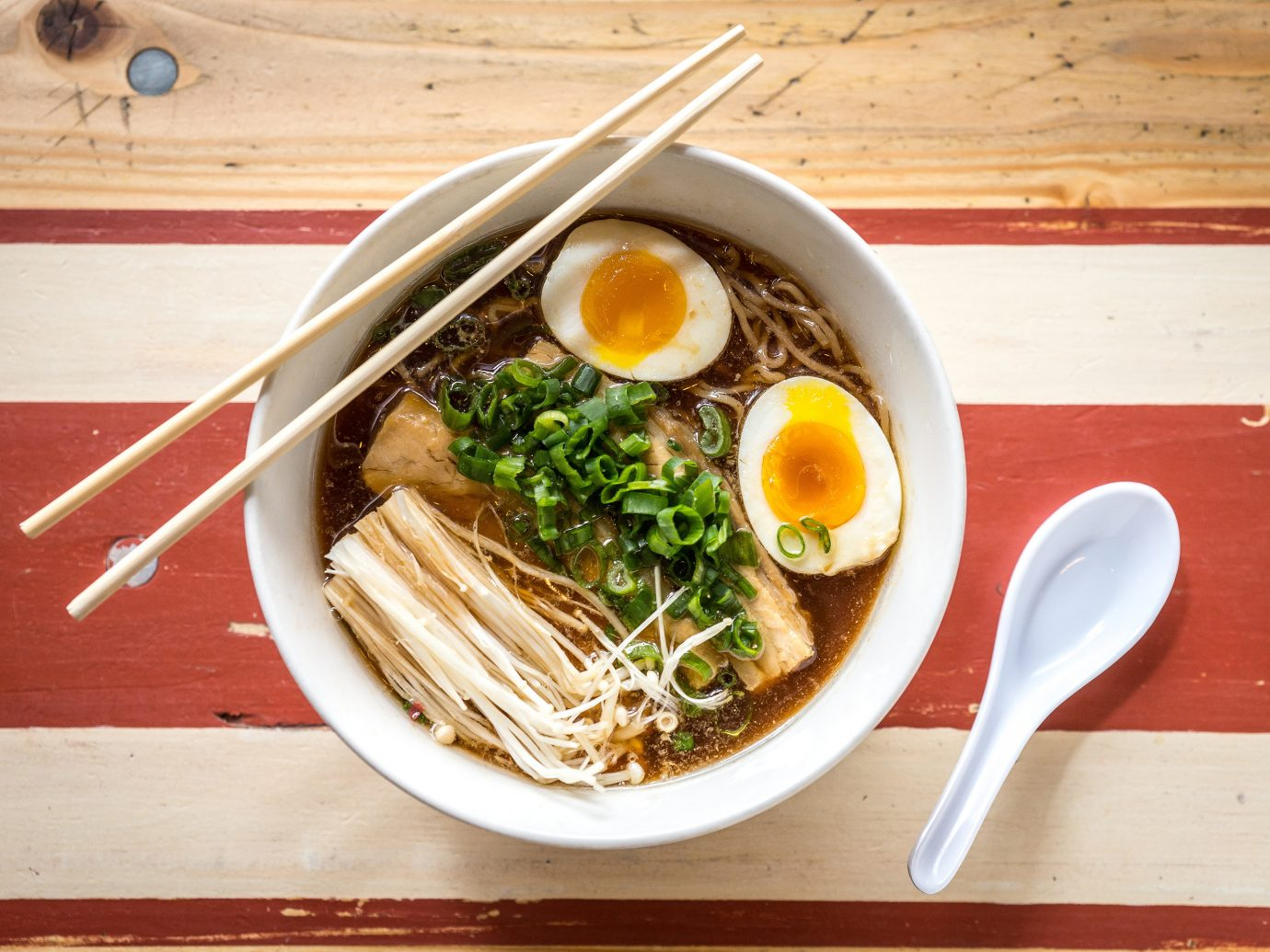 Trip Ideas table food plate dish cuisine noodle meal asian food lunch fish produce soba soup meat vegetable