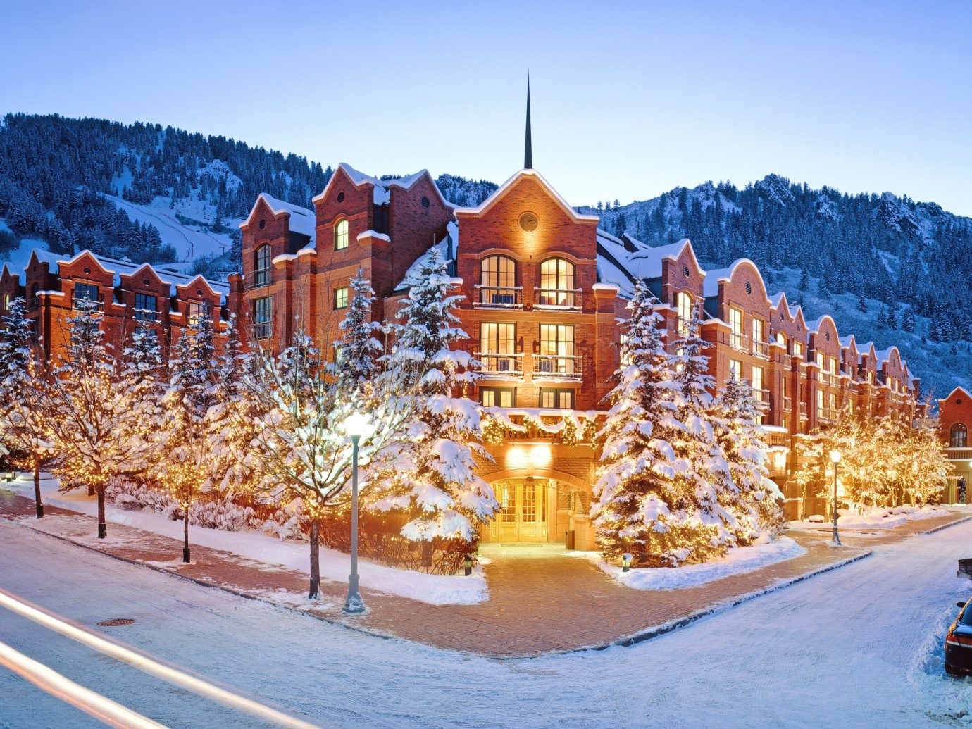 Hotels sky outdoor Winter snow landmark season Resort christmas decoration