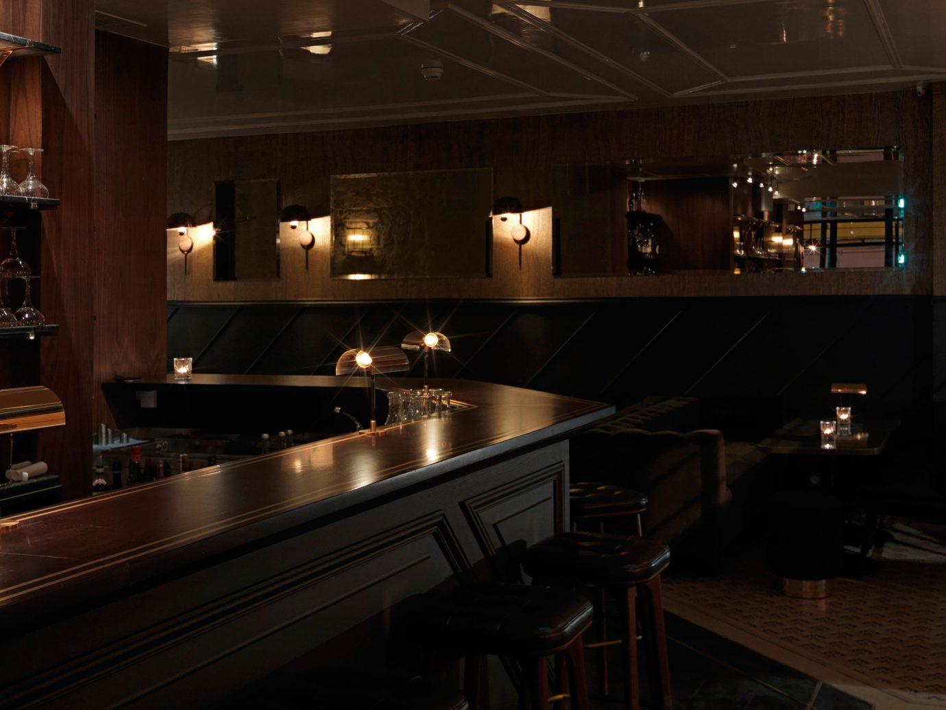 Food + Drink indoor ceiling floor Kitchen Bar interior design restaurant lighting
