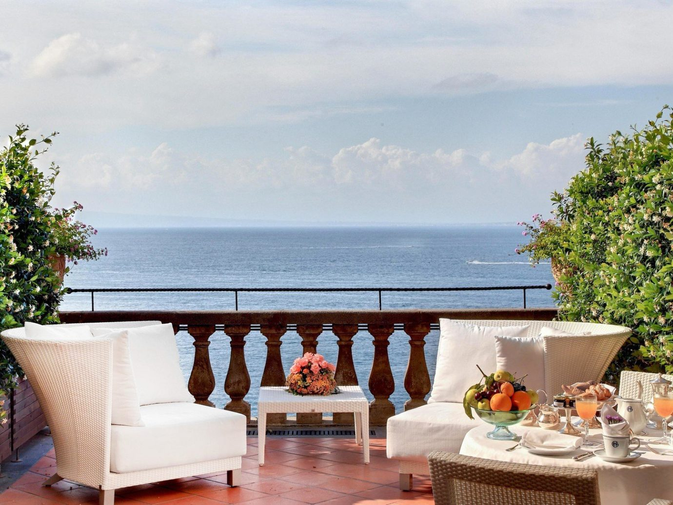 Chairs on a balcony at Grand Hotel Excelsior Vittoria, Sorrento