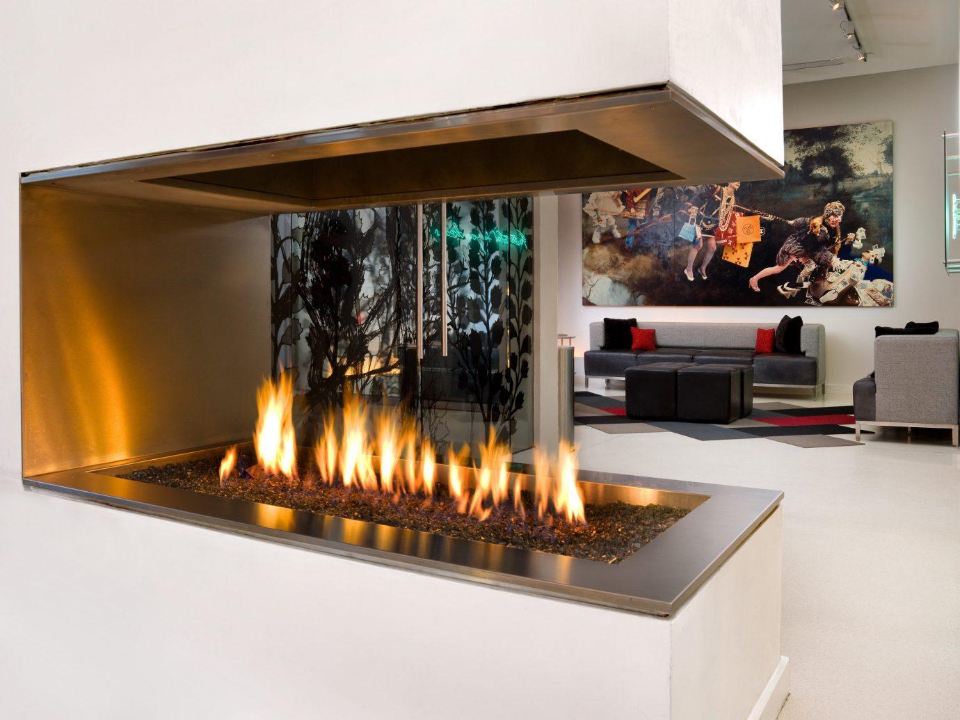 Budget Fireplace Hip Living Lounge Modern indoor hearth room home interior design counter living room Design light cooking