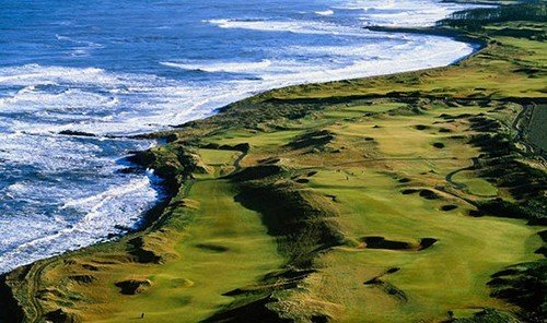 Outdoors + Adventure water outdoor structure Nature grassland Ocean sport venue Coast aerial photography golf course plain outdoor recreation golf club sports tundra cape wetland wave rock