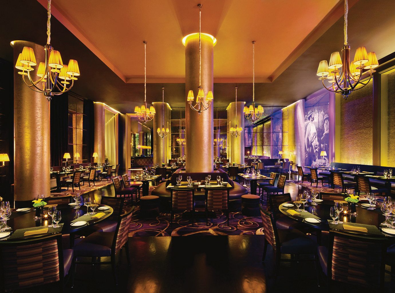 Bar Dining Drink Eat Hip Hotels Luxury Modern Romance indoor wall building restaurant meal function hall estate furniture several dining room