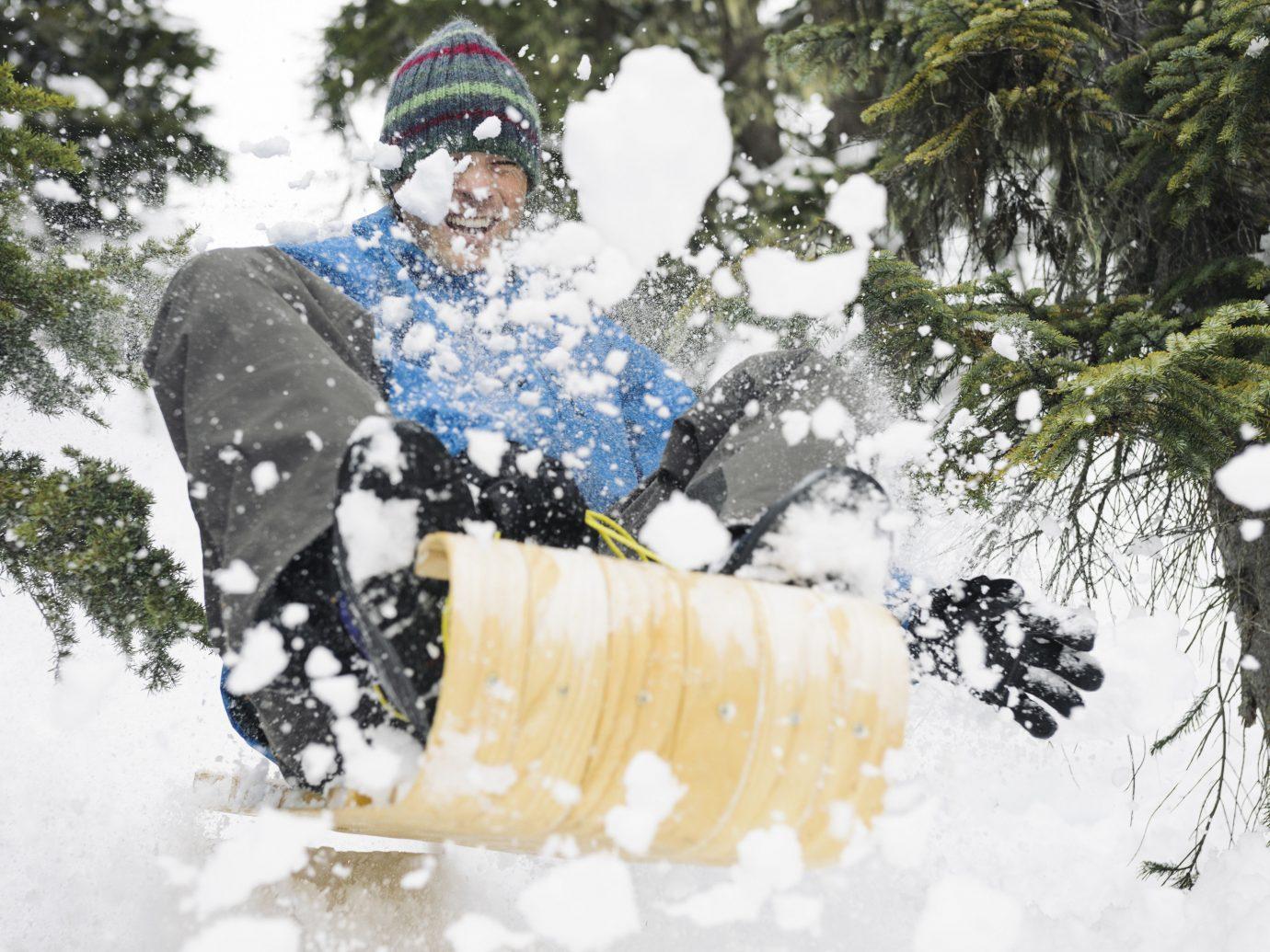Trip Ideas tree snow outdoor person weather Winter season snowboard footwear extreme sport vehicle snowshoe