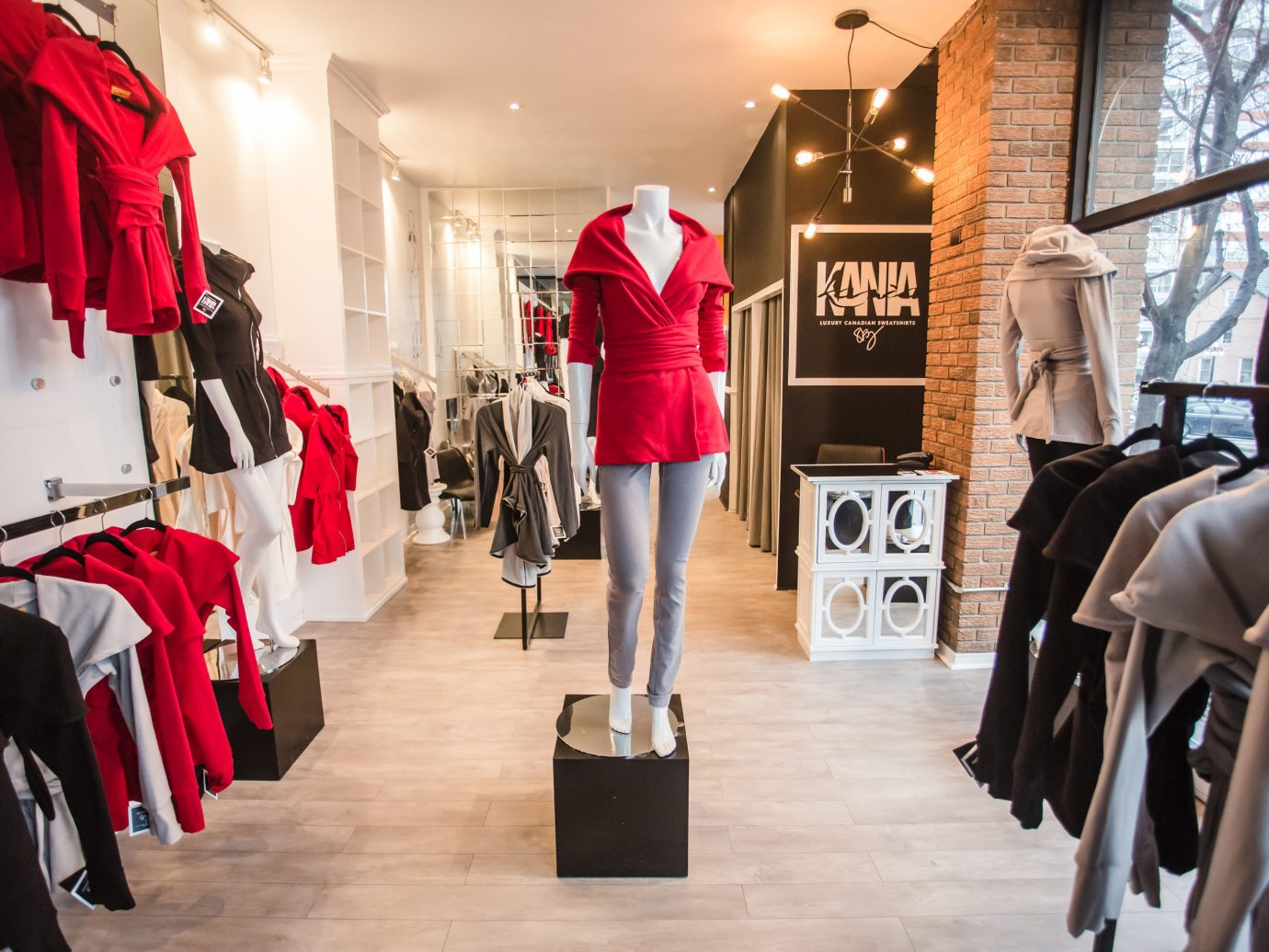 Style + Design floor indoor person Boutique clothing red retail fashion shopping spring dress display window fashion design