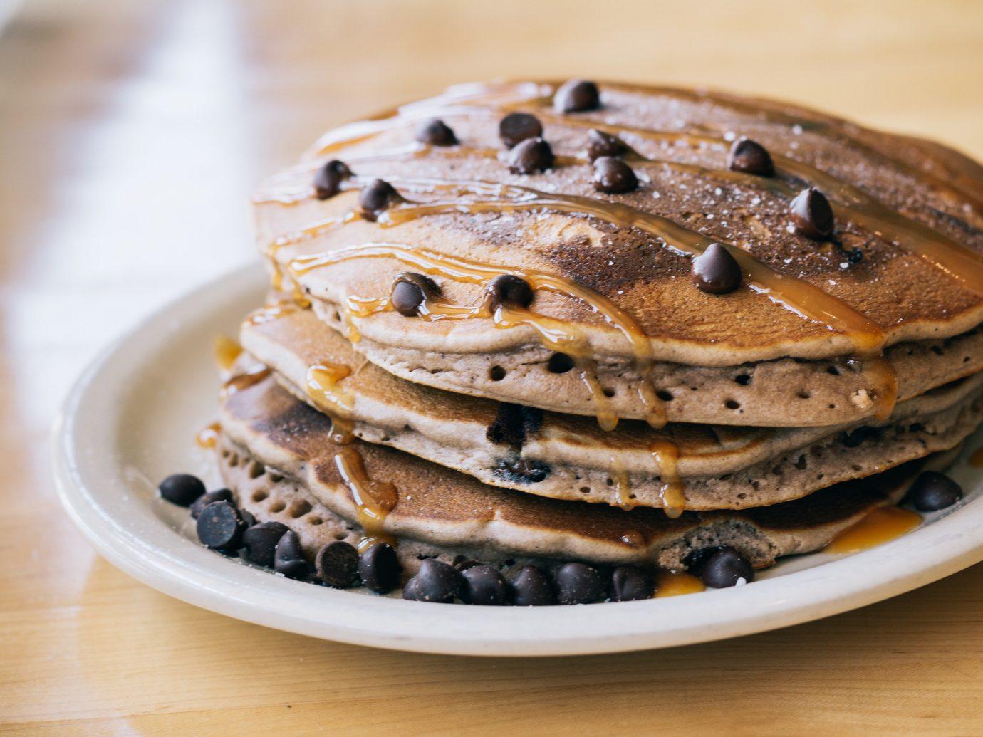 Food + Drink plate table dish food meal indoor breakfast pancake produce waffle dessert sliced stack