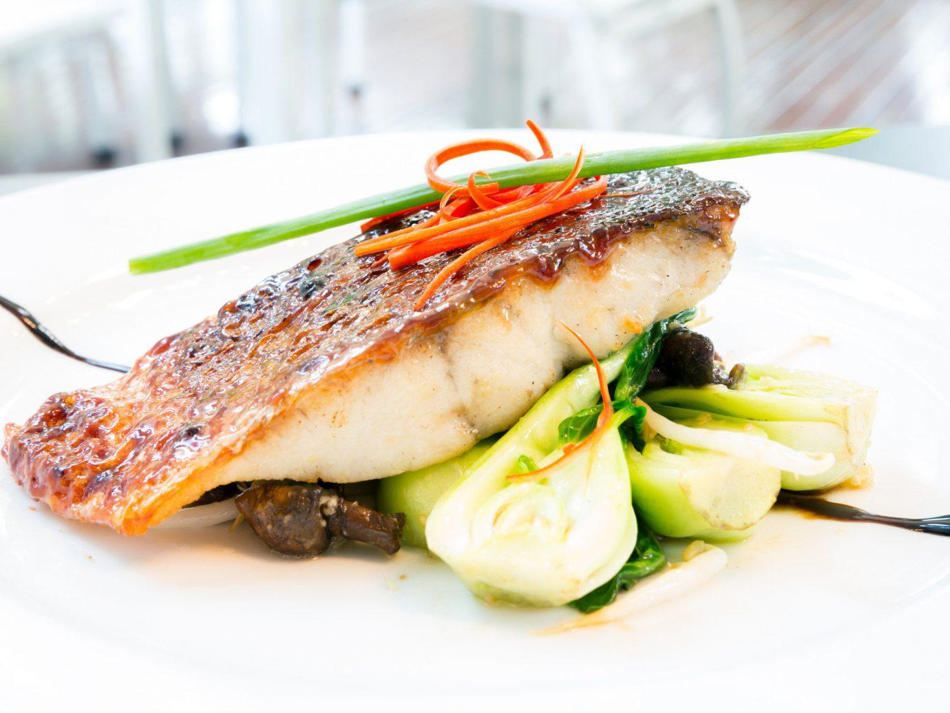 Food + Drink plate food dish garnish Seafood recipe vegetable piece de resistance