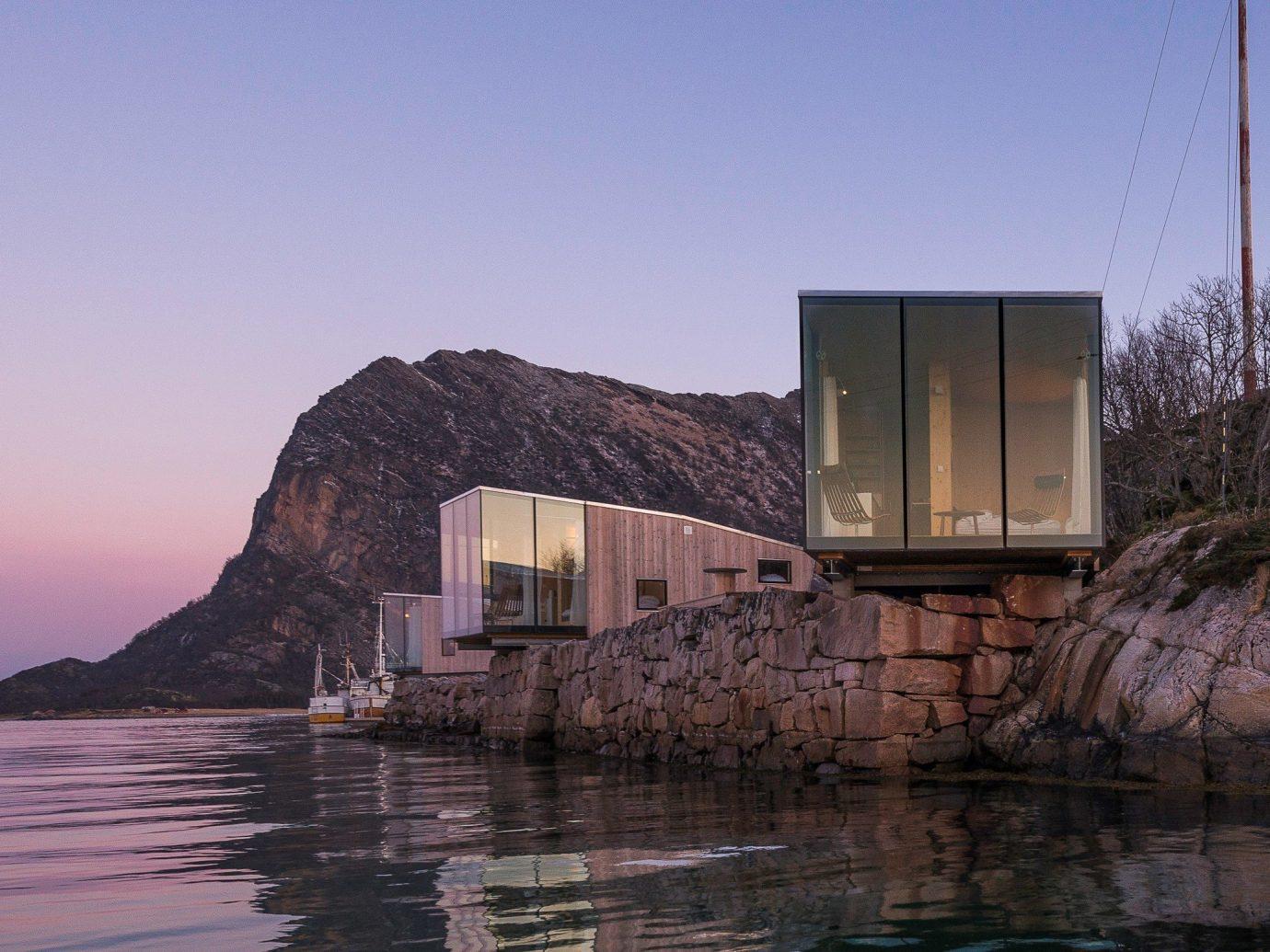 Norway Oslo Trip Ideas Architecture reflection house sky Sea water real estate building Coast evening Villa facade cottage