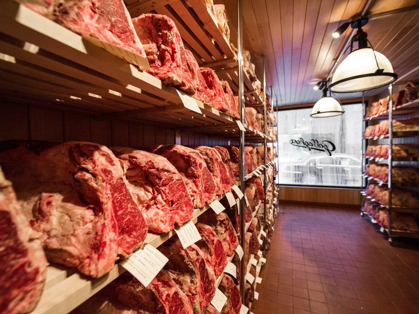 Food + Drink indoor floor retail ceiling meat food butcher Shop