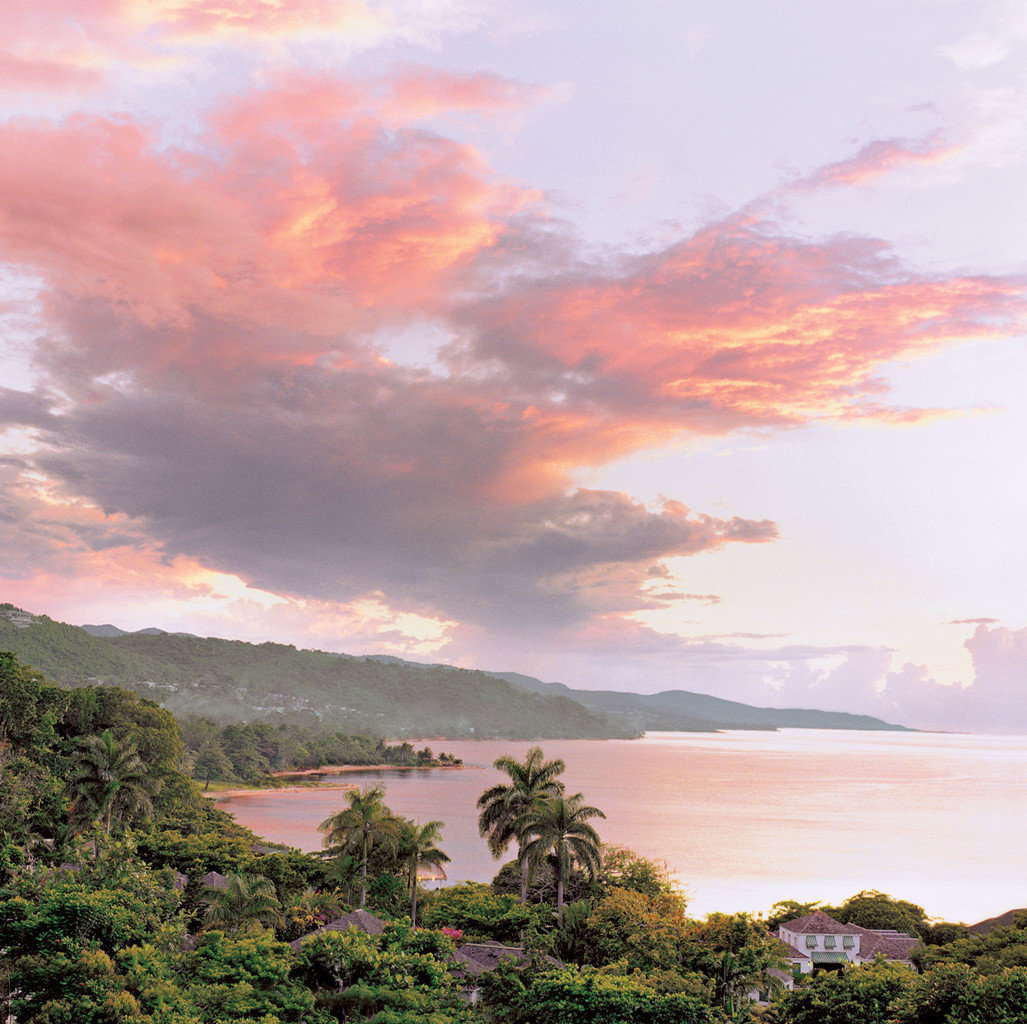 view of the ocean at dusk in Jamaica
