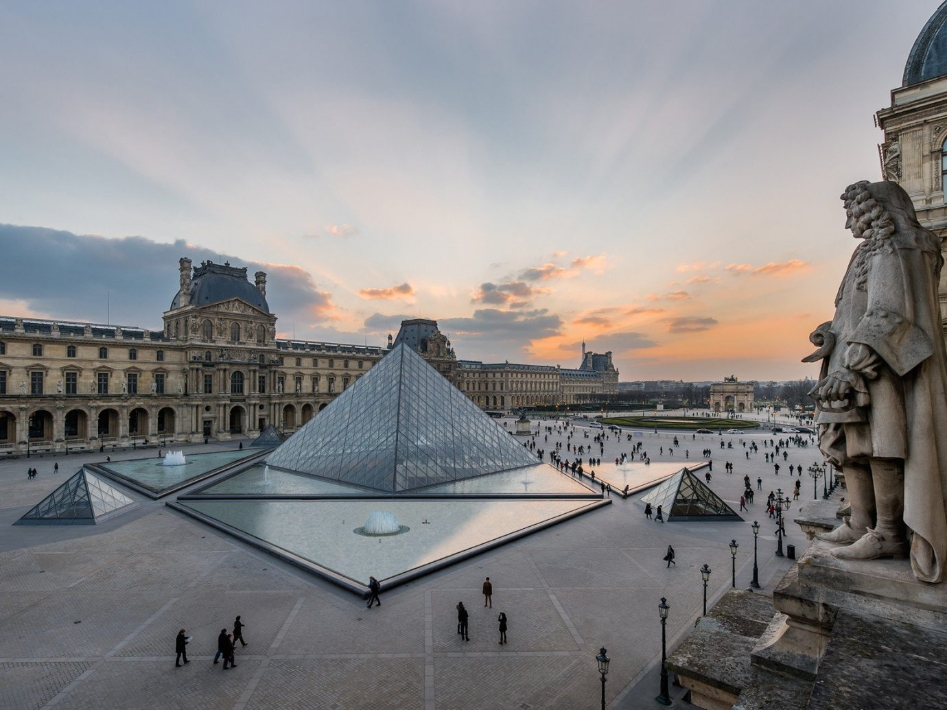 Exterior of Musee du Louvre in Paris France